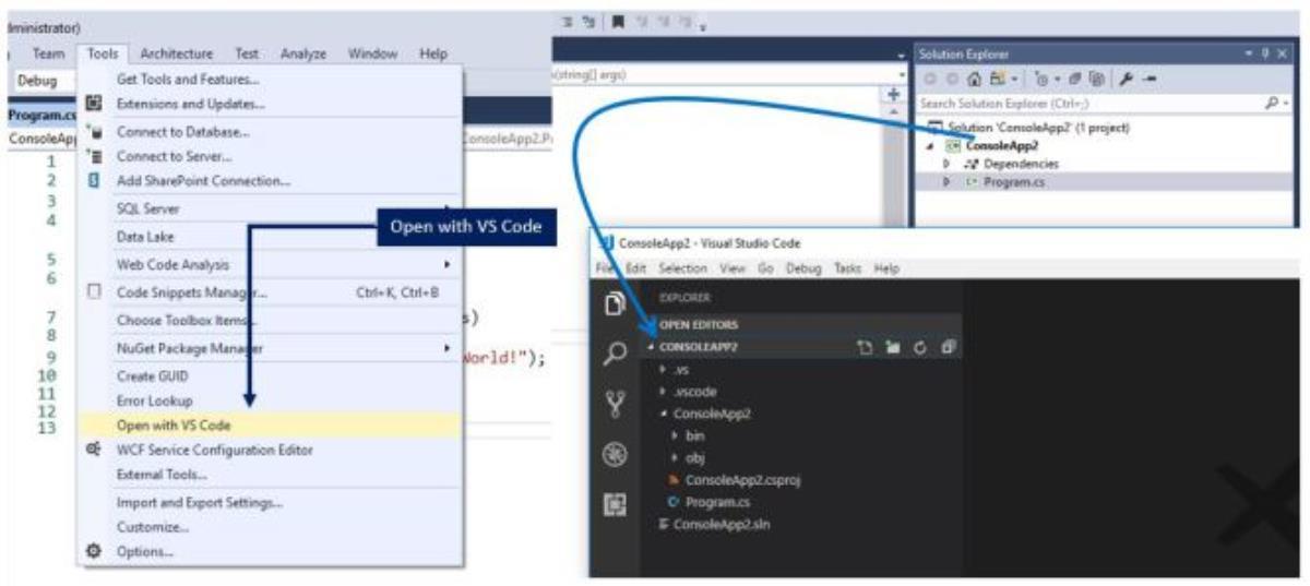 نحوه باز کردن پروژه جاری در VS Code از ویژوال استدیو