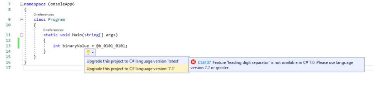 استفاده از بخش اقدام سریع ویژوال استدیو برای ارتقای ورژن زبان پروژه