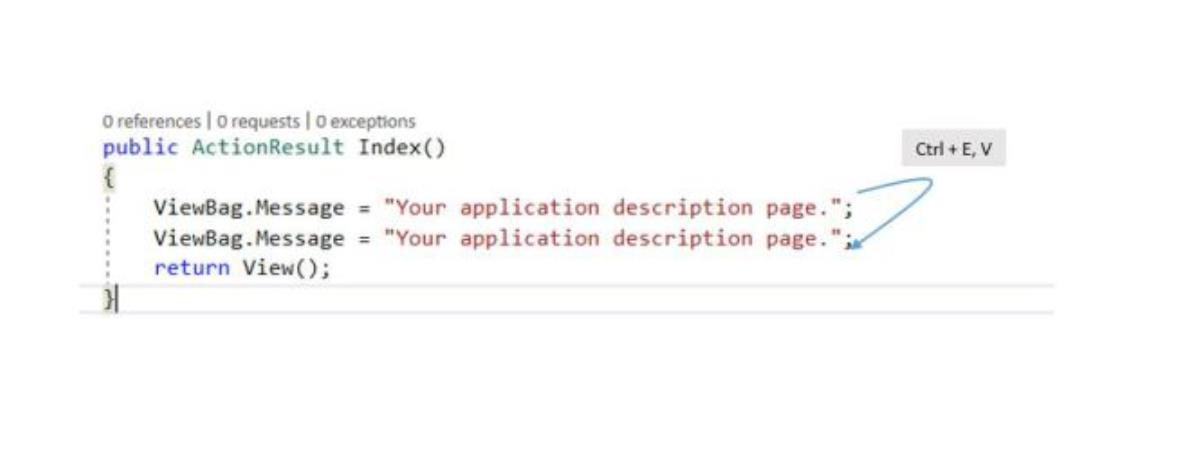 duplicate کردن خط کد در ویژوال استدیو